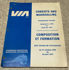 VIA CN Consists and Marshalling book, 1976 - 1977