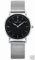 Classic Herrenuhr Strichindizes Edelstahl Designeruhr Armbanduhr Silber Schwarz