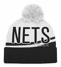 Brooklyn Nets Black On White Large Size Knit Beanie Cap Hat by Adidas