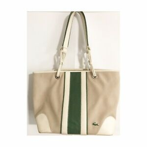Lacoste Shoulder Bag Tote Off White Green Canvas With Leather Accents