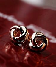 18K GP Rose Gold Plated Knit Rose Stud Earrings OL Elegant Chinese Knot USPS