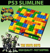 PLAYSTATION PS3 SLIM STICKER TOY BRICK WALL BUILDING BLOCKS SKIN & 2 PAD SKIN
