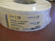 """Case of 12 Rolls Thermal white polyester labels, Barcode  2.25"""" x 1.125"""""""