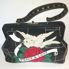 Isabella Fiore Black Leather Embroidered Peace & Love Doctor's Bag