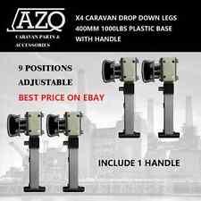 X4 PLASTIC BASE DROP DOWN LEGS FOR CARAVAN TRAILER HANDLE 400MM 1000LBS