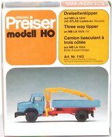 Preiser H0 1162 Dreiseitenkipper auf MB LA 1924 mit ATLAS-Ladekran - NEU + OVP