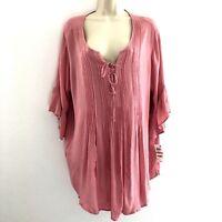Style & Co. womens 1X tunic top 1/2 bell sleeve pleated v-neck boho gauzy blush