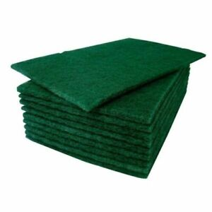 Green Scouring Pads Heavy Duty Abrasive Scourer Kitchen Cleaning 6'x9' x 10