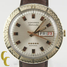 Longines Admiral 10k Gold Filled Automatic Day/Date Watch w/ Leather Band #508
