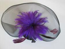 NEW  Large black net purple feather hatinator fascinator wedding races ascot