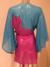 Vintage Sexy Sheer 70s Cat Japanese Kimono Retro One Of A Kind Women's
