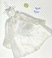 Barbie Doll Fashion: White Silver Sparkle Wedding Bridal Gown Heels Bouquet