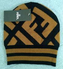 New Fendi Women Men's Beanie Cap Brown Hat