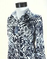 CHAPS Shirt No Iron Button Front 3/4 Sleeve Navy White Floral Top Women's S New