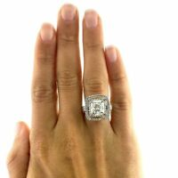 3.00 Ct Solitaire Princess Double Halo Diamond Engagement Ring 14k White Gold GP