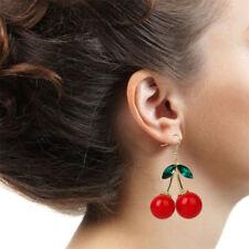 Fashion Women Cherry Drop Dangle Rhinestone Ear Hook Earrings Party Jewelry Gift
