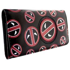NEW OFFICIAL MARVEL DEADPOOL PATCHWORK FACES BLACK COIN & CARD TRI-FOLD PURSE