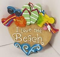 New Kurt Adler Kurt Adler I LOVE THE BEACH Flip Flops Heart Ornament