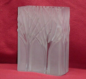 Two's Company Hand Blown Art Glass Bud Flower Vase Frosted Tree Winter Rectangle