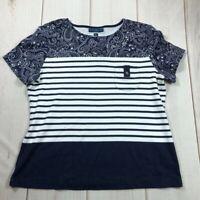 Karen Scott Sport Womens Pullover Top Shirt Multicolor Stripe Petites XL New