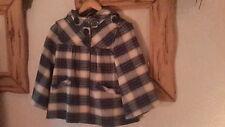 Blue Beige Tartan Swing Style Coat Size 8 Atmosphere