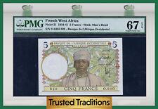 TT PK 21 1934-41 FRENCH WEST AFRICA 5 FRANCS PMG 67 EPQ SUPERB GEM NONE FINER