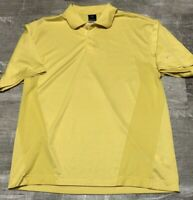Men's NIKE Fit Dry Yellow Short Sleeve Athletic Rugby Golf Polo Shirt Large L