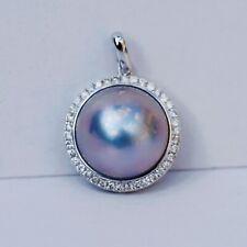 Nice AAAA+ 15mm Japan Seawater Grey Mabe pearl 0.49ct diamond Pendant 18K 231