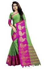 Plain Saree With Designer Indian Zari Printed Border Sari VG-Cotton Peacock