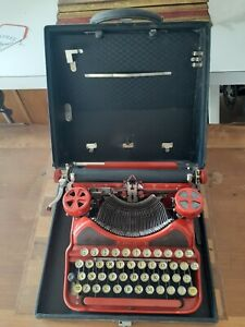 Antique Corona Portable Typewriter, Bright Red, with Original Carry Case
