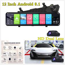 "Dvr coche 12"" Android 8.1 Doble Lente Frontal Espejo Retrovisor Cámara Dash GPS 4G Wifi"