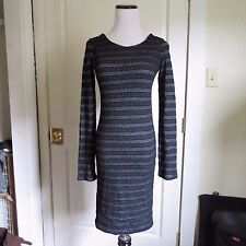 Monrow Black & White Striped Textured Knit Double Layered Sheath Dress- XS