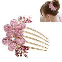 Pink Fashion Lady Girl Flower Pattern Alloy Rhinestone Barrette Hair Clip Comb W