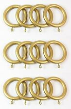 12 x Antique Gold Wooden Curtain Rings for 35mm dia Pole NEW