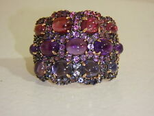 14K ROSE GOLD IOLITE BRAZILIAN BLUSH GARNET & AMETHYST DOMED RING NEW QVC 6
