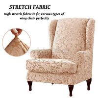 2Pc Stretch Wing Chair Cover Slipcover Wingback Armchair Home Furniture A+ D !