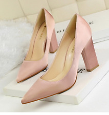 Women's Block Kitten High Heels Leather Shoes Pumps Pointed Patent Stilettos Z39