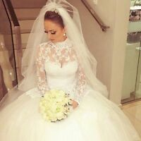 2018 Long Sleeve Wedding Dress Princess Lace Bridal Gown High Neck Custom Size