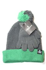 London Fog Boy's Knit Jacquard Beanie with Pom Gloves Solid Magic Green OS NWT