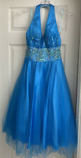 Party Time Formals Tea-length Beaded Halter Dress size 4. Turquoise.