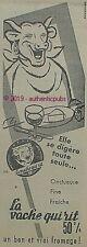 PUBLICITE LA VACHE QUI RIT BON FROMAGE ONCTUEUX COW DE 1957 FRENCH AD PUB RARE