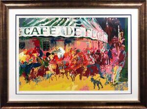"""LeRoy Neiman """"Cafe de Flore"""" Framed Hand Signed Serigraph Paris France NEW RARE!"""