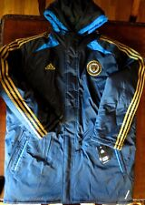 Adidas Philadelphia Union Bimbo Hooded Filled Blue SQUAD JACKET 2XL Mens RARE DS