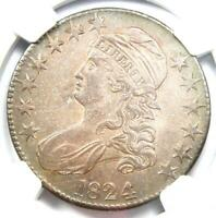 1824 Capped Bust Half Dollar 50C O-105 - Certified NGC AU Details - Rare Coin!