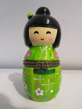 Japanese Koreshi Beautiful Non Nesting Doll Hinged Trinket Box NEW Collectible