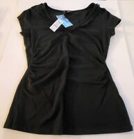 White House Black Market V-neck top T-shirt Sequin Size S Black New 55-20