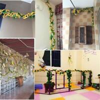 2,6 m künstliche gelbe Sonnenblume Girlande Seidenblume Rebe Hochzeit Blum Heiß