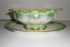 HAVILAND FRANCE  Porcelain Gravy Boat Green Gold Floral Leaves Fine China RARE