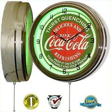 "Coca Cola 15"" Neon Wall Clock Lighted Distressed Sign Soda Pop Shop Coke Bottle"