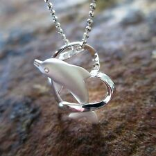 Dolphin Heart Hawaiian Genuine Silver Pendant Necklace Christmas Gift # SP30101